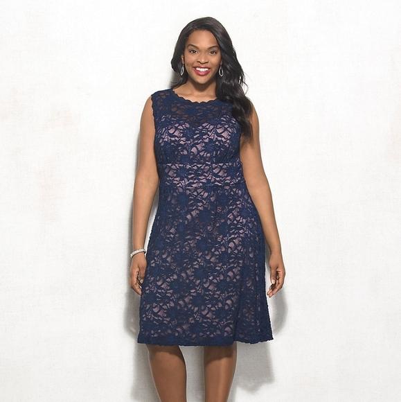 Navy Blue Pink Lace Dress Dress Barn Sz20